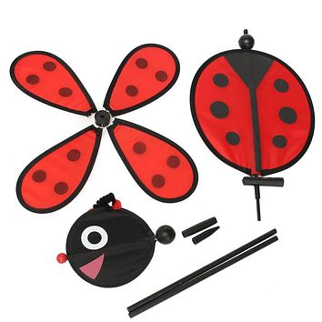 Bumble Bee Ladybug Windmill Whirligig Wind Spinner Home Yard Garden Decor Classic Toys
