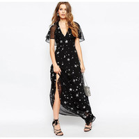 Black Star Print Short Sleeve Chiffon Maxi Dress