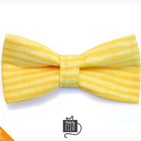 "Pet Bow Tie - ""A Star Is Born"" - Yellow Striped Detachable Bowtie for Cats + Dogs"