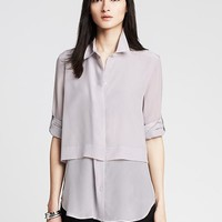 Banana Republic Womens Monogram Pieced Silk Blouse