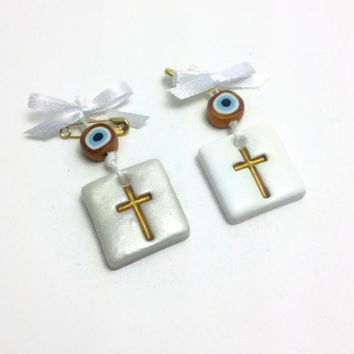 Cross Favors, Evil Eye Favors, Wedding Favors, Witness Pins, Martyrika, Baptism Decor, Wedding Decoration, Pack of 25 or 50