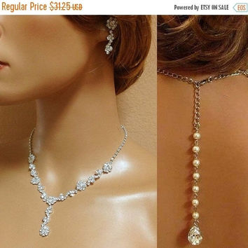 bridesmaid jewelry, Bridal necklace earrings, bridal jewelry set, Wedding jewelry, Bridal backdrop necklace ,crystal jewelry, pearl jewelry