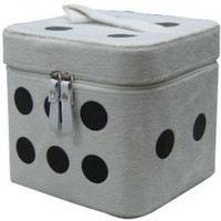 ROCKWORLDEAST - Cosmetic Case, Makeup Case, White Fuzzy Dice