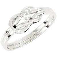 White Gold Round Diamond Love Knot Ring