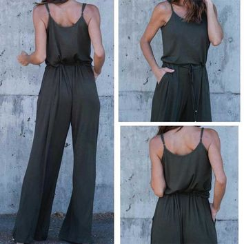 New Women Casual Clothes Summer Sleeveless Solid Color Wide Leg Jumpsuit Lady Slim Fit Bohemian Beach Wear Cotton Wideleg Pants Ladies
