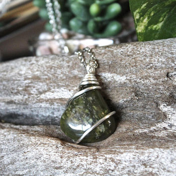 Vesonite Necklace, Wire Wrapped Gemstone Pendant, Green Stone Jewelry, Bohemian Style Festival Fashion, Chakra, Pagan, Gypsy, Hippie, Indie