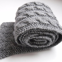 Grey cable scarf Long Reversible and Oh so by TheFeminineTouch