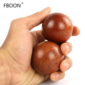 FBOON 2Pcs Wood Fitness Ball Massage GYM Health Meditation Exercise Stress Relief Baoding Balls Relaxation Therapy Hand Grips