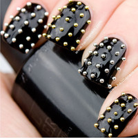 Gold & Silver Metallic Caviar Studs Nail Art - This seasons must have nails.