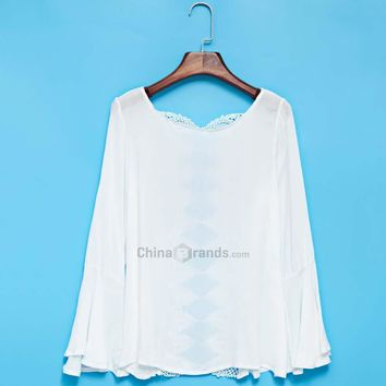Chic Scoop Collar Flare Sleeve Lacework Spliced Pure Color Blouse for Women