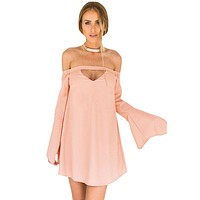 Pink Long Bell Sleeves Off Shoulder Cutout Swing Dress
