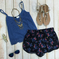 Lace Crop Top: Blue