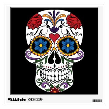 Colorful Sugar Skull Wall Sticker