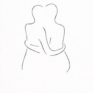 Original minimalist ink drawing of a couple holding each other.
