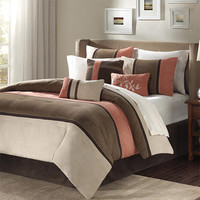 Madison Park MP10-186 Palisades Brown and Tan Seven-Piece California King Comforter Set - (In No Image Available)