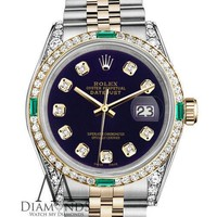 Ladies Rolex SS & Gold 31mm Datejust Purple Color Diamond Dial with Emerald