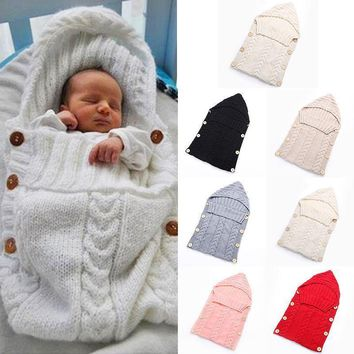 Swaddle Wrap Baby Blanket Newborn Infant Girls Boys Knit Crochet Cotton Sleeping Bag Baby Winter Sweater Sleeping Bag