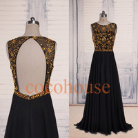 Gold Crystals Black Long Prom Dresses Open Back Evening Dresses New Party Dresses Homecoming Dresses Hot Party Dresses Wedding Party Dresses