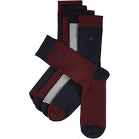 River Island MensRed farm icons sock pack