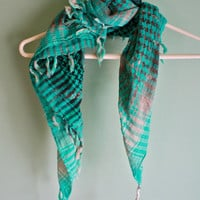 Bleached ombre green plaid scarf