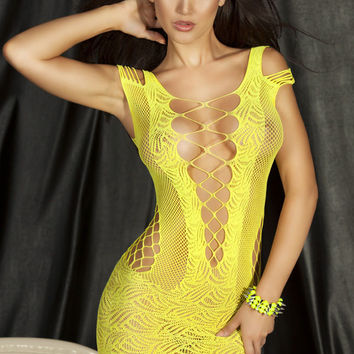 Yellow Strappy Cut-Out Chemise Lingerie