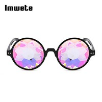 Imwete kaleidoscope Glasses Round Rave Featival Sunglasses Women M Decoration Party Nightclub Camouflage Chidren Sun Glasses