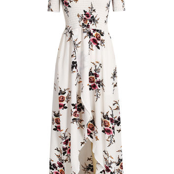 Off Shoulder Shirred Floral Print Wrap Maxi Dress
