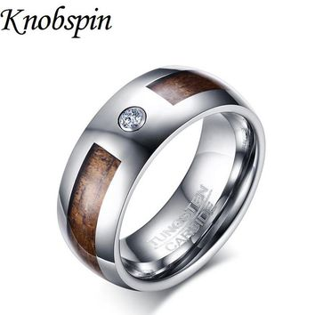 Fashion Tungsten Ring men trendy Wedding band Jewelry for men with White Rhinestone US size 7-12 Engravable bague homme aneis