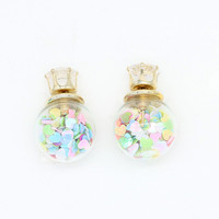 Multicolor Heart Decorated Ball Crystal Detail Earrings