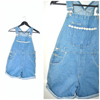 light DENIM overalls shorts vintage 90s grunge DAISY flower BIBS shortalls dungarees small