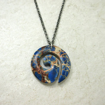Spiral Stone Necklace, Blue and Brown Magnesite Pendant, Guy Necklace