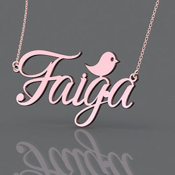 Elegant name monogram necklace 1 inch plated in rose gold for girls--personalized gift