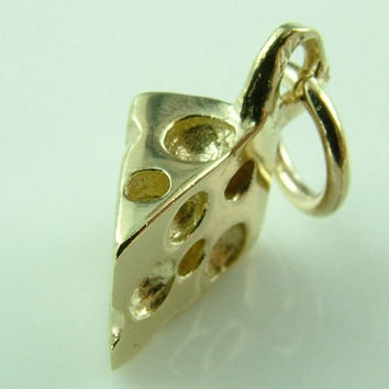 10K 14K Detailed high quality 3 Dimensional Swiss Cheese Piece Gold Charm for Bracelet - Pendant