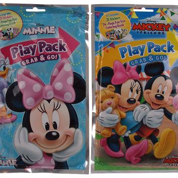 Lot 7 Mickey Minnie Mouse Play Pack Grab & Go Coloring Disney Crayons Stickers