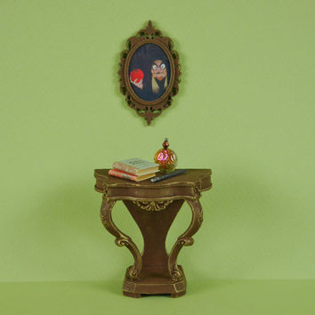 Witches Side or Hall Table and Ornate Mirror - 1:12 or 1/12 scale Dollhouse Miniature, Rococo Style Furniture, Wicked Witch, Fairytale,