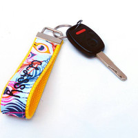 MATURE NSFW Peacock Feather Key Wristlet & Yellow Webbing Classy Bitch Cursing Lanyard Key Fob Swearing Chain Profane Adult Rude Wristlet