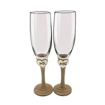 Set of 2 Rustic Champagne Flute GlassesMr and Mrs Champagne GlassesBride and Groom Wedding Toasting Glasses Drinking Glasses Engraved Heart for Engagement Wedding Gift Anniversary Present
