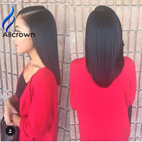 Crown Hair Products Brazilian Virgin Hair Straight Yaki U Part Wig Full lace Human Hair Wigs 10A Unprocessed Front Lace Wig