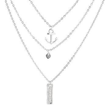 2015 Hot Silver Plated Crystal Fine Jewelry Multi Layer Necklace Gold Anchors Pendant Statement Necklace for Women