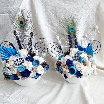 SET of 2 flowers arrangements centerpiece altar decor cream brown dark blue turquoise wedding real PEACOCK feathers pine cones cedar rose