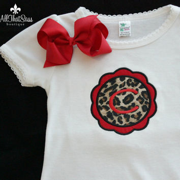 Embroidered Monogram Bodysuit - Creeper - Cheetah Print / Zebra / Red - Baby Shower Gifts - Newborn - Infant - Toddler - Outfit - Bodysuit