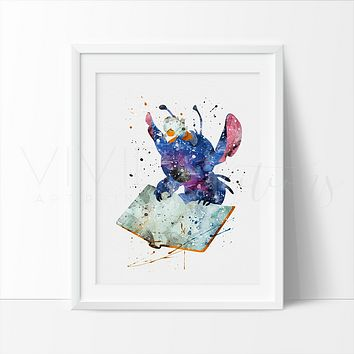 Stitch 2, Lilo & Stitch Watercolor Art Print