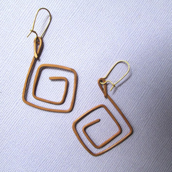 Copper Earrings spiral square boho gypsy style aged rustic copper jewelry long dangle medium large hand forged hammered goldplated earwires
