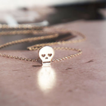 mini skull rose gold necklace