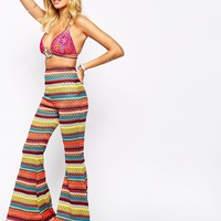 The Ragged Priest Bell Bottom Skinny Flares In 70'S Festival Zig Zag Knit