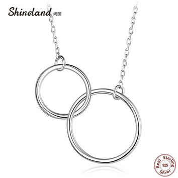 Shineland Casual Double Circle Necklace 925 Sterling Silver Pendant Accessories Mujer Interlocking Collar for Women Friend Gifts