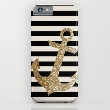GOLD GLITTER ANCHOR IN BLACK AND NUDE iPhone & iPod Case by Colorstudio