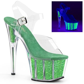 Ankle Strap Sandal With UV Blacklight Glitter Inserts Stripper Shoes