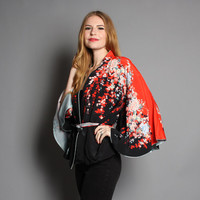 70s ASIAN Floral KIMONO Jacket / Draped Black & Red Belted Crop Cardi