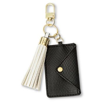 Women's Card Holder and Tassel Key Chain Black/White - Sam & Libby